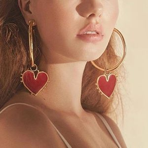 Bessy Oversized Heart Pendant Gold Hoop Earrings